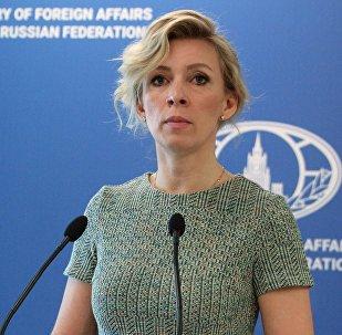 Официальный представитель министерства иностранных дел России Мария Захарова во время брифинга, 8 июня 2017 года