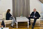 Министр иностранных дел Колумбии Мария Анхела Ольгин на встрече с президентом Азербайджана Ильхамом Алиевым