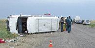 Rusiyanın Kalmıkiya respublikasının Çernozemelsk rayonu ərazisində qəzaya uğramış avtobus