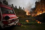 Работа пожарного расчета в Пенеле, в центре Португалии