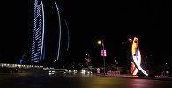 Ночной Баку в ожидании старта Формулы 1