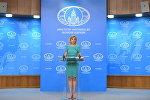 Официальный представитель министерства иностранных дел России Мария Захарова во время брифинга в Москве, 29 июня 2017 года