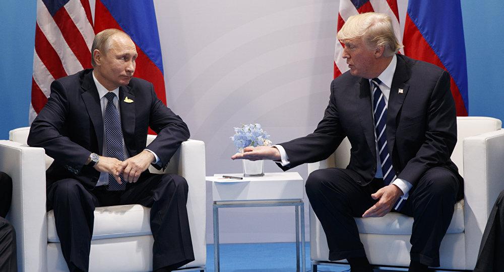 Встреча президентов США и России Дональда Трампа и Владимира Путина в ходе саммита G20, Гамбург, Германия, 7 июля 2017 года