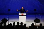 Президент Турции Реджеп Тайип Эрдоган во время выступления на 22-м Всемирном нефтяном конгрессе в Стамбуле
