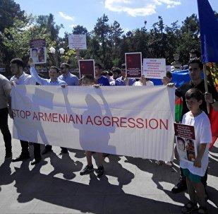 Aкция протеста против армянского террора в Нагорном Карабахе