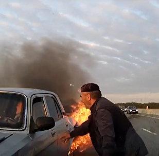 Кадры аварии на трассе Ростов – Баку