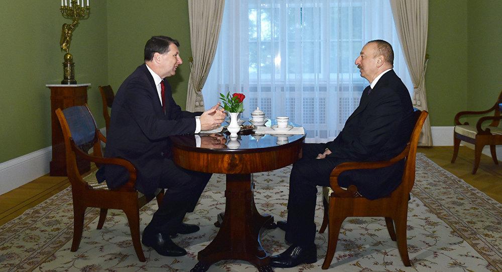 Встреча президента Азербайджанской Республики Ильхама Алиева и президента Латвийской Республики Раймондса Вейониса