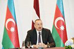 Ильхам Алиев  во время заявления для печати президентов Латвии и Азербайджана, Рига, 17 июля 2017 года