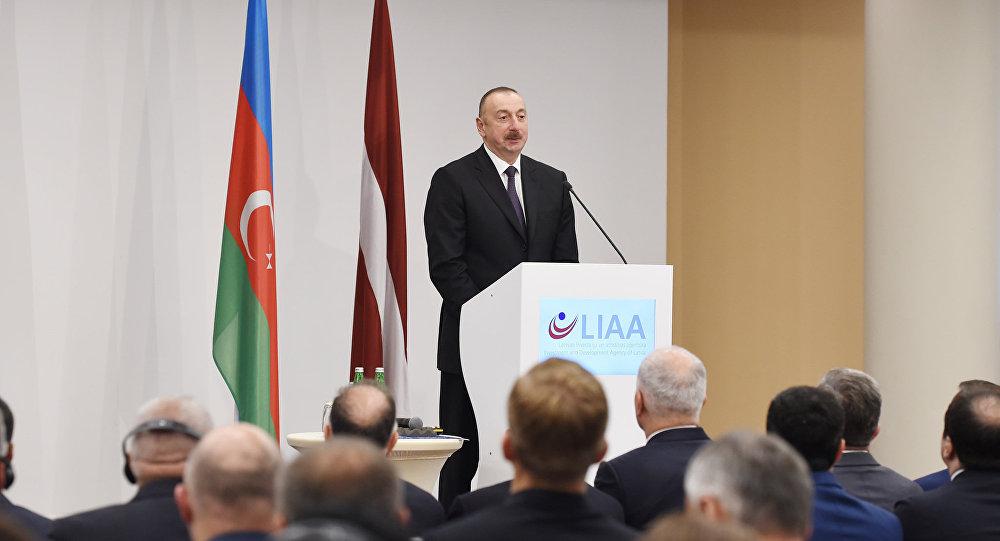 Выступление президента Азербайджана Ильхама Алиева  в ходе азербайджано-латвийского бизнес-форума