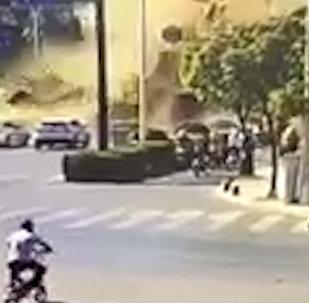 Момент страшного взрыва газа в Китае