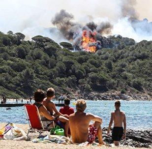 Лесной пожар в Ла-Круа-Вальмер, недалеко от Сен-Тропе, 25 июля 2017 года