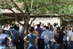 Акция протеста на улице Ахмеда Джамиля в Ясамальском районе Баку