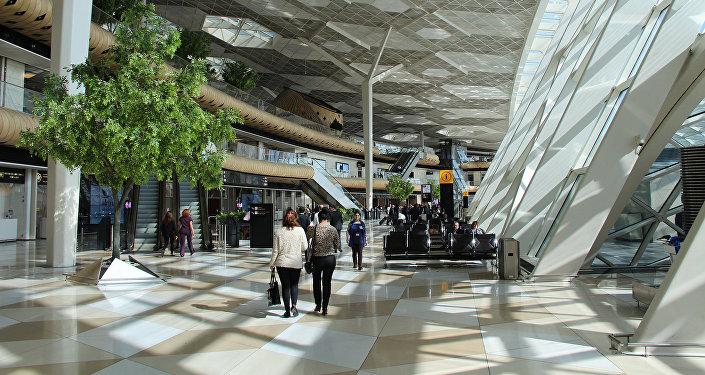 Пассажиры в зале аэропорта Гейдара Алиева в Баку