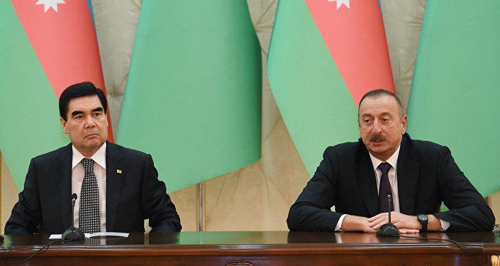 Выступление Ильхама Алиева во время выступления президентов Азербайджана и Туркменистана с заявлениями для прессы