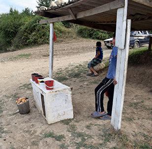 Дети, торгующие фруктами на обочине дороги Губа-Гусар