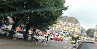 Автомобили спецслужб на Рыночной площади в Турку, 18 августа 2017 года