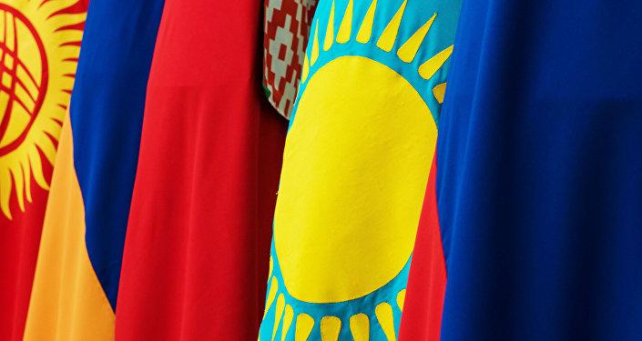 Флаги Кыргызстана, Армении, Беларуси, Казахстана и России - стран-участниц Евразийского экономического союза