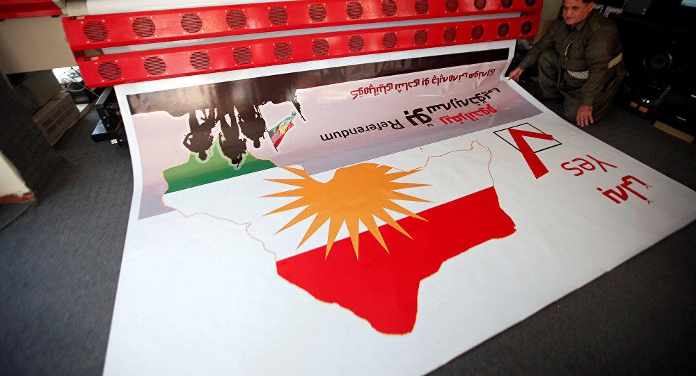 Kürdüstanda keçirilən referendumunun plakatının çapı, Ərbil, 26 avqust 2017-ci il