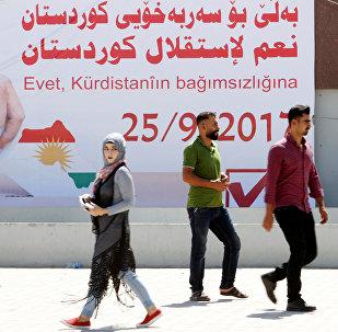 Kərkükdə referendumu təbliğ edən banner, 10 sentyabr 2017-ci il