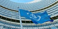 Флаг МАГАТЭ перед штаб-квартирой организации в Вене, фото из архива