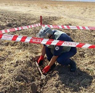 Cнаряд типа BM-3, обнаруженный в селе Аскипара Тертерского района