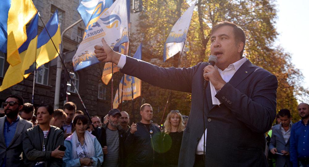 Бывший президент Грузии, экс-губернатор Одесской области Михаил Саакашвили во время выступления в Киеве, 19 сентября 2017 года