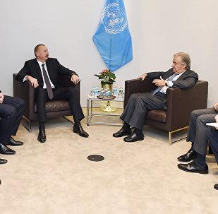 Президент Ильхам Алиев встретился в Нью-Йорке с генеральным секретарем ООН Антониу Гутеррешем