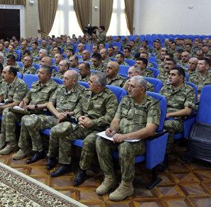 Расширенное заседание коллегии Министерства обороны, посвященное боевой и морально-психологической подготовке, а также итогам состоявшихся широкомасштабных учений проведено в прифронтовой зоне
