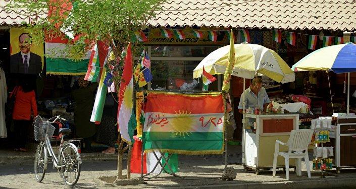Агитационная символика накануне референдума о независимости так называемого Иракского Курдистана от Багдада на улицах Эрбиля