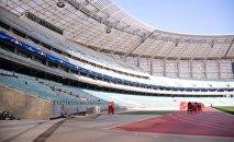 Бакинский олимпийский стадион в преддверии футбольного матча Карабах-Рома