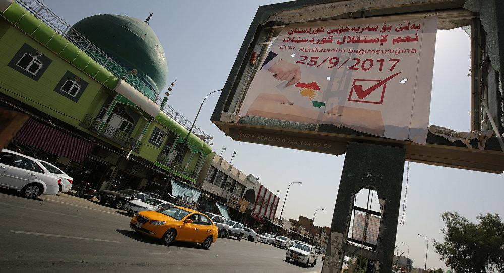 Рекламный щит, посвященный референдуму о независимости Курдистана, Киркук, Ирак, 25 сентября 2017 года