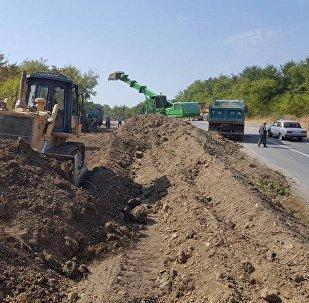 Ремонтно-восстановительные работы на участке автодороги Муганлы-Исмаиллы