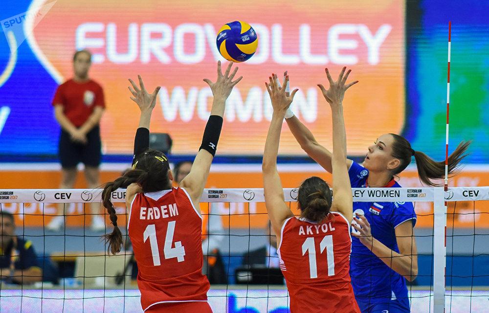 Четвертьфинал чемпионата Европы 2017 среди женщин по волейболу. Матч между сборными России и Турции