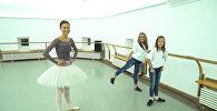 Балерина Кристина Кретова проводит мастер-класс для сестер Здоровенко