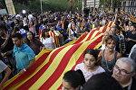 Всеобщая забастовка в поддержку референдума о независимости Каталонии в Барселоне, фото из архива