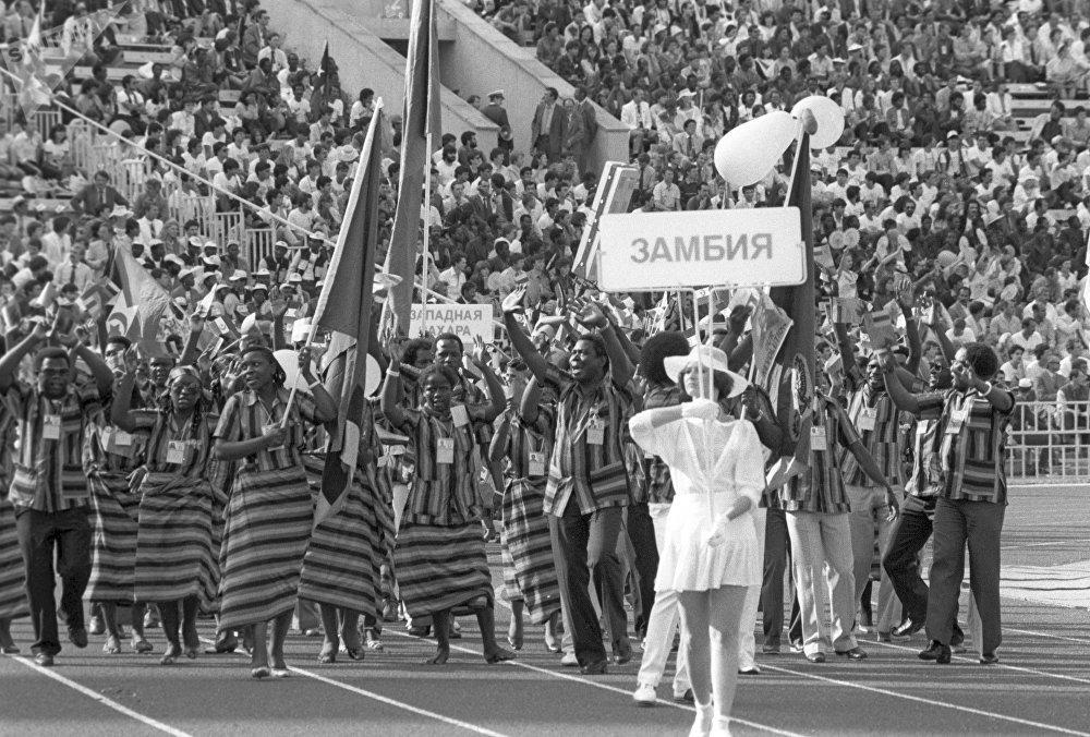 Делегация Замбии на открытии фестиваля на Центральном стадионе имени В.И. Ленина