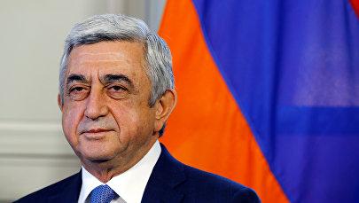 Президент Армении Серж Саргсян на открытии переговоров с Азербайджаном в Женеве, Швейцария, 16 октября 2017 года