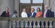 Лидеры партии Союз 90 / Зеленые и Свободной демократической партии на балконе Федерального собрания Германии накануне переговоров о создании коалиции, Берлин, 19 октября 2017 года