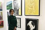 Азербайджанская художница Фидан Заман на международном фестивале современного искусства Art Shopping, Париж, Лувр, 20 октября 2017 года