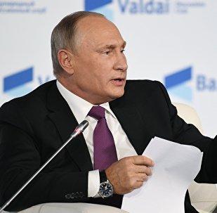 Президент РФ Владимир Путин принимает участие в итоговой пленарной сессии XIV ежегодного заседания Международного дискуссионного клуба Валдай