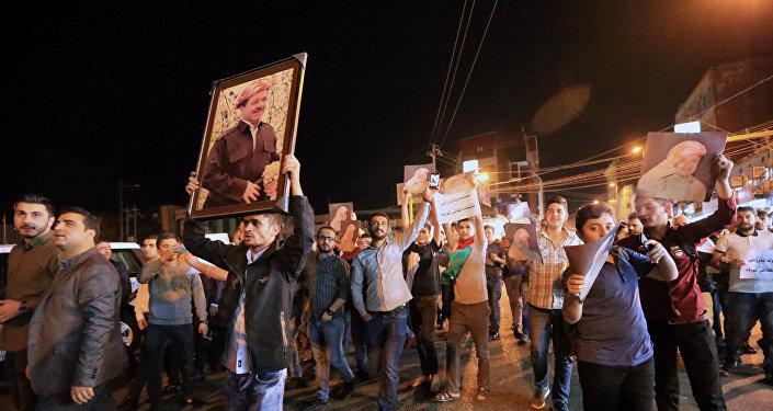 Митинг в поддержку президента Курдистана Масуда Барзани Ирак 29 октября 2017 года