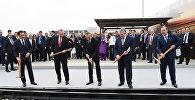 Торжественная церемония по случаю открытия железнодорожного маршрута Баку-Тбилиси-Карс