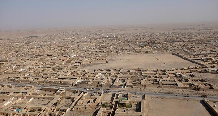 Вид с птичьего полета на афганский город Чаман на границе с Пакистаном, 5 октября 2017 года