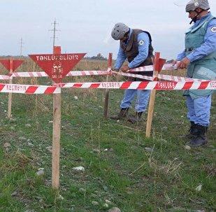 Обезвреживание противопехотной мины в Агдамском районе