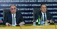 Министры иностранных дел России и Азербайджана Сергей Лавров и Эльмар Мамедъяров во время пресс-конференции в Баку