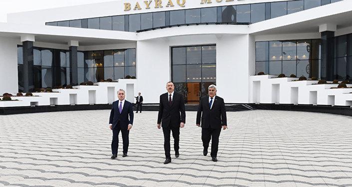 Президент Ильхам Алиев в открытии Музея флага в Сабирабадском районе