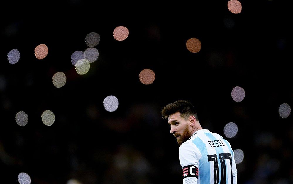 Лионель Месси (Аргентина) в товарищеском матче между сборными командами России и Аргентины