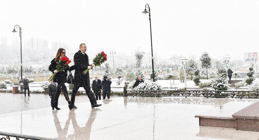 Президент Ильхам Алиев прибыл в Губинский район