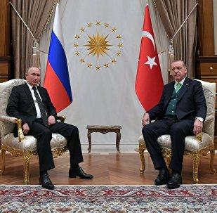 Президент РФ Владимир Путин и президент Турции Реджеп Тайип Эрдоган во время встречи, 11 декабря 2017 года