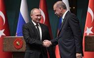 Президент РФ Владимир Путин и президент Турции Реджеп Тайип Эрдоган во время совместного заявления для прессы по итогам российско-турецких переговоров, 11 декабря 2017 года